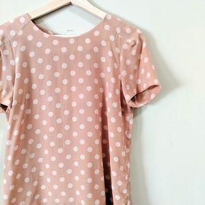 Zara Tops - ZARA Nude Blush Polka Dot Silk Blouse Size Small